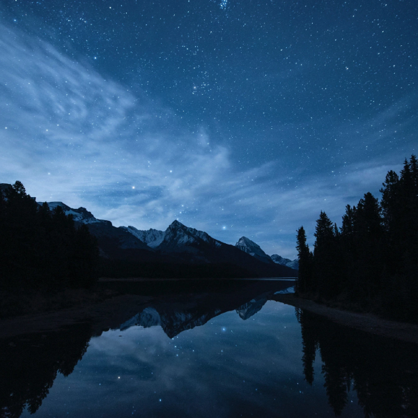 Stars and landscape at night